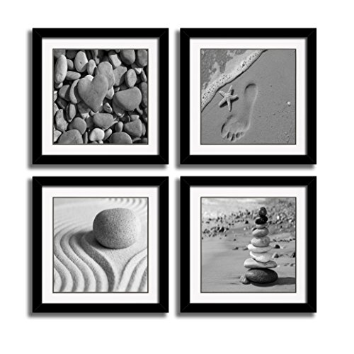 Theme Wall Prints Set (HLJ ART Black Frames Romantic Beach Theme 4 Piece Modern Giclee Artwork Sea Beach Ocean Canvas Prints Contemporary Abstract Seascape Pictures Paintings on Canvas Wall Art for Bedroom Home Decorations)