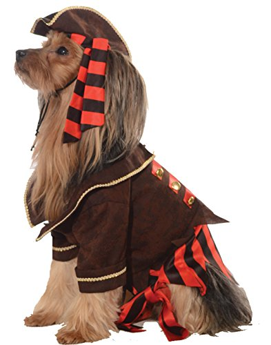 Pirate jacket for dog and hat with attached striped bandana