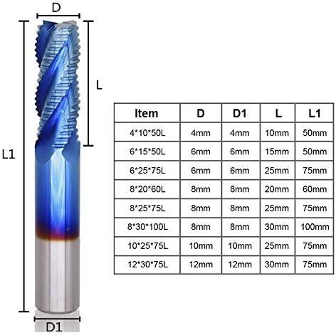 GENERICS LSB-Werkzeuge, 1 stück 4mm-12mm Nano Blau Beschichtung Schruppen Schaftfräser 4 Flöte Spiral Hartmetall Schaftfräser CNC Fräser Schaftfräser (Cutting Edge Length : 8x30x100L)