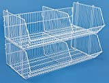 Displays2go, Retail Wire Stacking Bins, Two Tiered Design, Floor Standing – (DMPB10WT2)