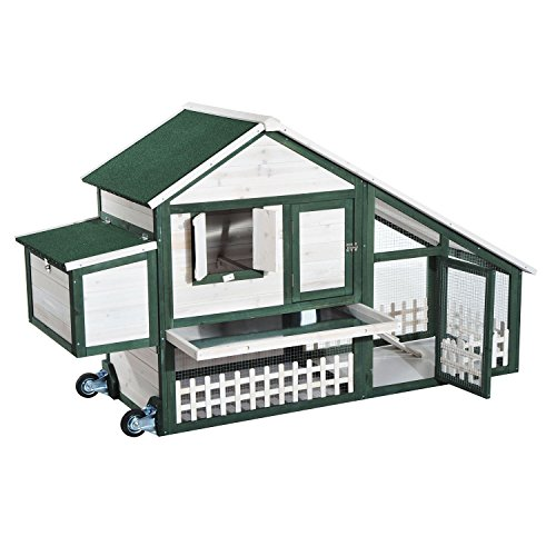 Eight24hours 76 wooden chicken coop hen portable poultry for Portable hen house