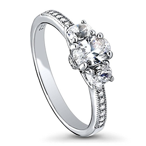BERRICLE Rhodium Plated Sterling Silver Cubic Zirconia CZ 3-Stone Promise Engagement Ring Size 5 by BERRICLE