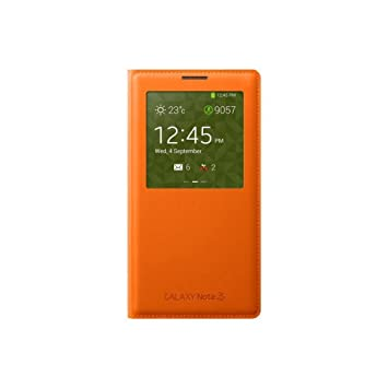 Samsung S-View - Funda para móvil Galaxy Note 3 (Con pantalla frontal), naranja