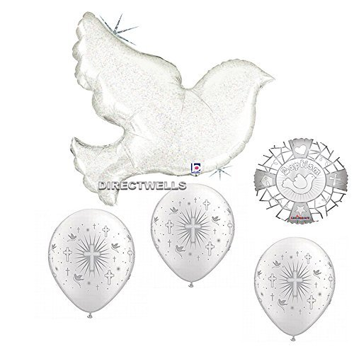 - Convers Baptism Holograpic Pearl White Dove Jumbo Foil / Mylar Balloon 34