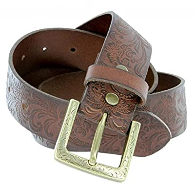 Jora Women's Full Leather Western Floral Engraved Cowgirl Casual Jean Belt