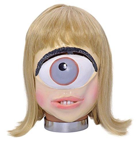 [Retail Zone Women's Rubber Mask One Eyed Alien Futurama Leela Halloween Adult One Size Multi] (Futurama Leela Costumes)