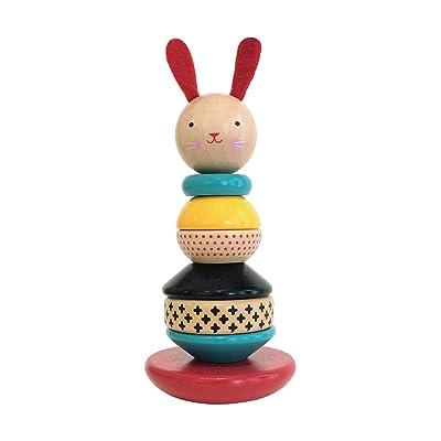 Petit Collage Rabbit Wood Stacking Toy: Baby