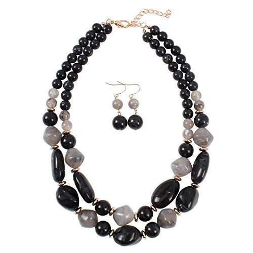 KOSMOS-LI Statement Chunky Resin Beaded Fashion Strand Necklaces for Women ()