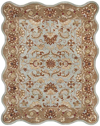 Safavieh Heritage Collection HG822A Handcrafted Traditional Oriental Blue and Beige Wool Scallop Area Rug 6 x 9