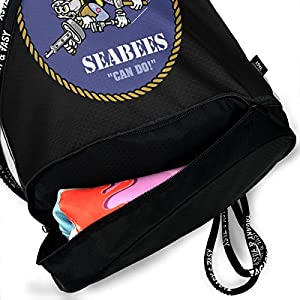 PLO American and Seabee Crossed Flag Drawstring Backpack Drawstring Bag Bundle Backpack Sport Bag by PLO
