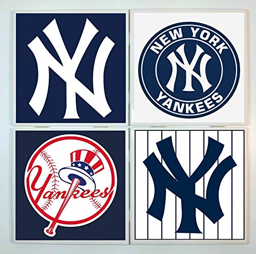 New York Yankees Coasters - set of 4 tile coasters - baseball
