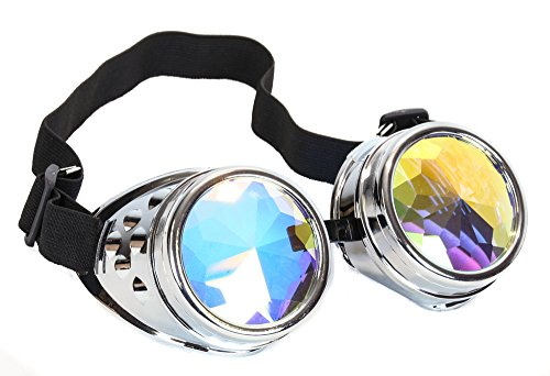 Kaleidoscope Goggles Sunglasses Cosplay Aviator Steampunk Cyber Ravers (SILVER) - Dolls Kill Halloween Costumes