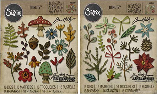 (Tim Holtz Sizzix Thinlits Dies - Funky Foliage and Funky Festive - 2 Items)