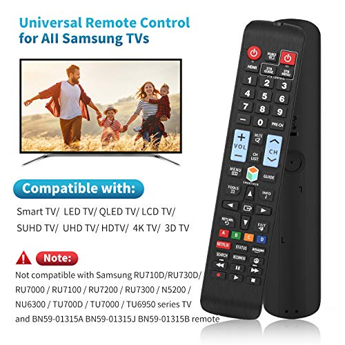 Universal Remote Control for All Samsung TV Remote LCD LED QLED SUHD UHD HDTV Curved Plasma 4K 3D Smart TVs with Netflix and Smart Hub Buttons