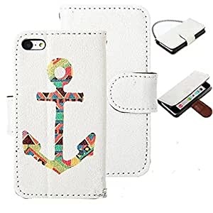 JASTIT Colorful Anchor Pattern Design PU Leather Wallet Type Magnetic Flip Stand Hard Case Cover for Apple iPhone 5C