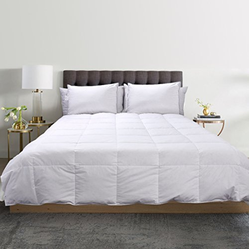White Down Comforter All Season Light Weight Duvets Insert 100% Cotton Shell, Classic Box-Stitched, 600 Fill Power (Full 78
