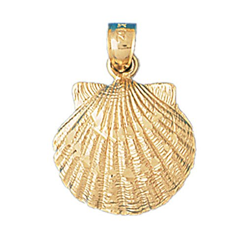 14K Yellow Gold Shell Pendant Necklace - 25 mm 14k Yellow Gold Shell