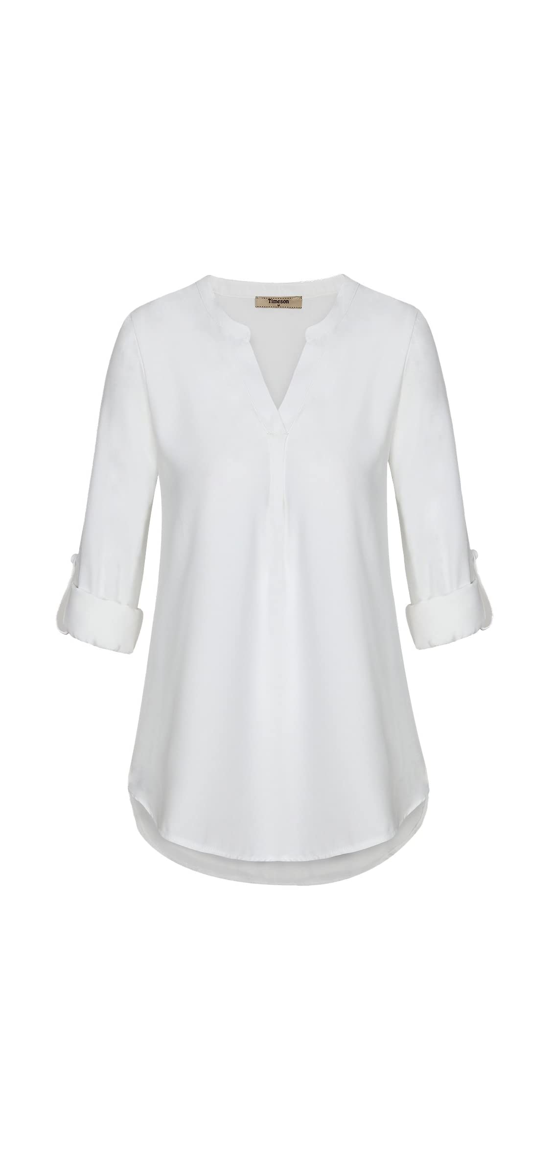 Women's Casual Chiffon V Neck Cuffed Sleeve Blouse Tops