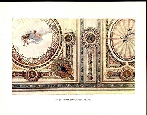 - Grand Ceiling Cherubs Peacock Beauty Floral 1901 antique color Art Nouveau print