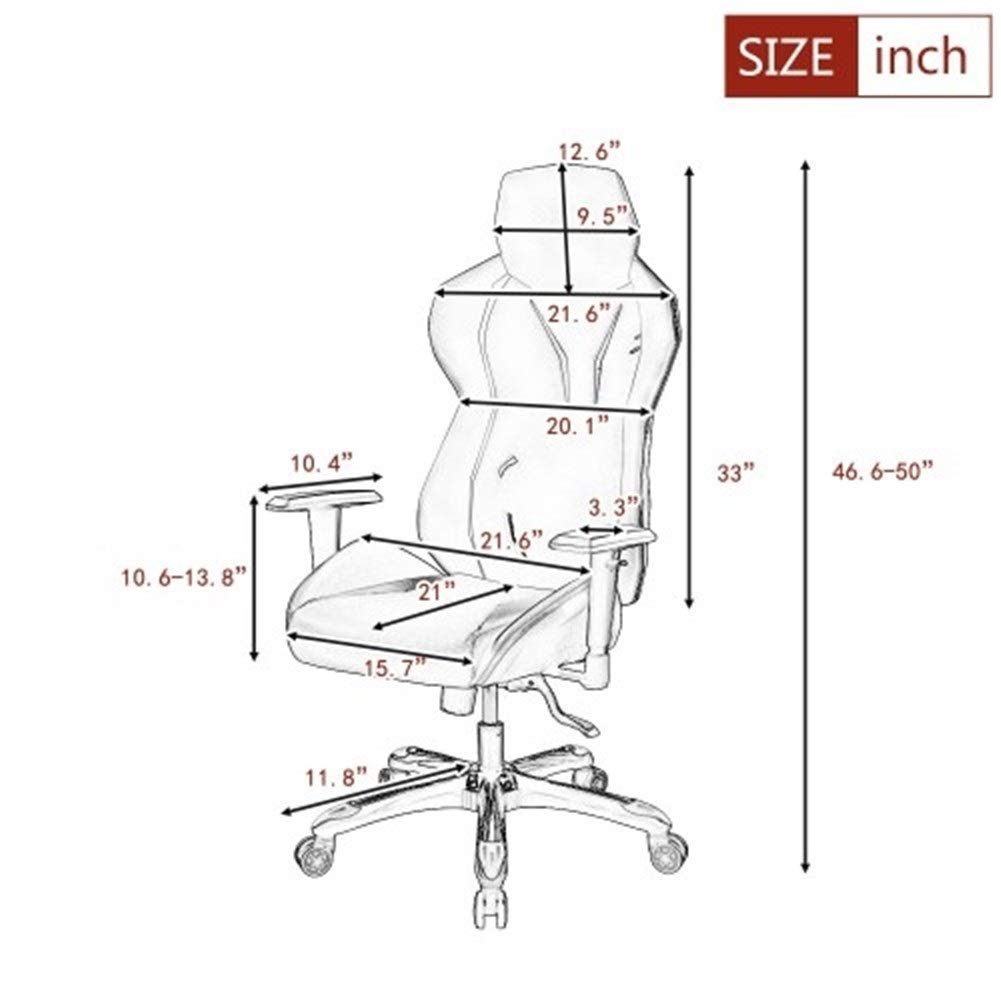 Comfortable Seat Color : Black PU Leather//Universal Caster//Adjustable Seat Flexibility//Headrest Game Chair Black