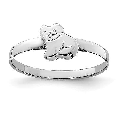 36c587a40f51 Hermoso anillo de plata de ley 925 bañado en RH para niños con gato pulido  viene con un regalo de joyería gratis  Amazon.es  Joyería