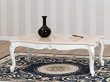 Perfekt Simone Guarracino Wohnzimmertisch Couchtisch Modern Barock Stil Weiss  Lackiert Eigenschaften Blattsilber Marmor Farbe Creme