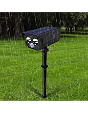 Luz Solar 2 LED 250 Lumen Súper Brillante Foco LED Solar Exterior, 4 Modos Lamparas de Jardin Solares con Sensor de Movimiento, IP65 Impermeable 180 Ángulo de Ajuste Luces Solares de Seguridad