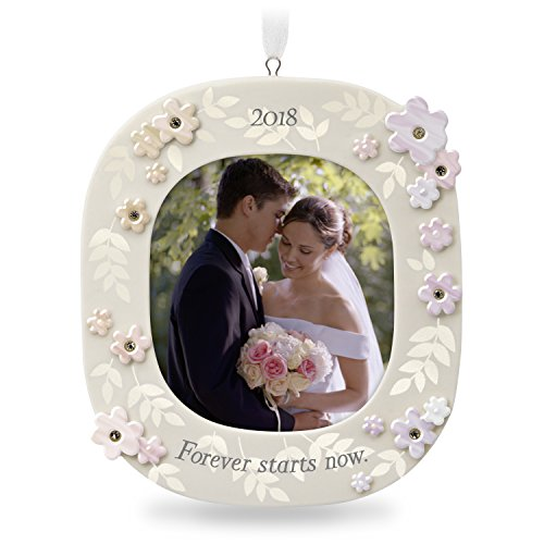 Hallmark Keepsake 2018 Wedding Gift Forever Starts Now Year Dated Porcelain Photo Picture Frame Christmas Ornament - First Christmas Frame Ornament