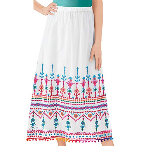 - Collections Etc Women's Colorful Pattern Border Embroidered Skirt with Cute Fringe Trim, Elastic Waistband for Comfort, White Multi, Large