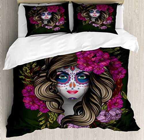 (Lunarable Makeup Duvet Cover Set King Size, Calavera Day of The Dead Mexican Sugar Skull Faced Woman with Floral Head Halloween, Decorative 3 Piece Bedding Set with 2 Pillow Shams,)