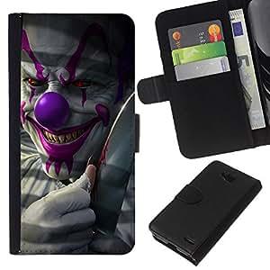 KLONGSHOP // Tirón de la caja Cartera de cuero con ranuras para tarjetas - Payaso Sonrisa malvada Diablo Rojo Ojos Creepy - LG OPTIMUS L90 //