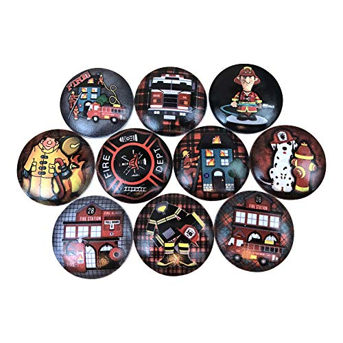 Set of 10 Firefighter Print Wood Cabinet Knobs