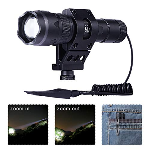 MA3TY Tactical Flashlight for AR15 Zoomable with Clip 1200Lumens Weapon Rail Light with Pressure Switch,Rechargeable Battery,Picatinny Mount