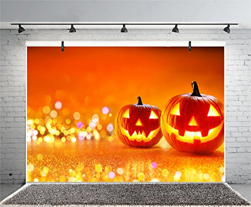 Leyiyi 8x6ft Photography Backgroud Happy Halloween Backdrop Pumpkin Lamp Gloomy Forest Spider Net Gothic Skull Candle Vintage Grunge Table Bokeh Costume Canival Photo Portrait Vinyl Studio Prop -