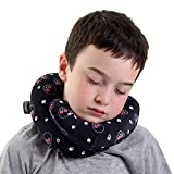 BCOZZY Kids Chin Supporting Travel Neck Pillow - Supports the Head, Neck and Chin in Maximum Comfort in Any Sitting Position. A Patented Product. Child Size, Black Skulls