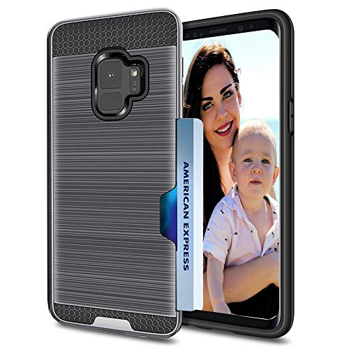Samsung Galaxy S9 Phone Case : Metallic Rugged Hybrid Dual Layer Shock Proof Armor Defender Protective Ultra Slim Case Cover - Galaxy S9 with Credit Card Holder Slot Wallet 2018 (Gray, S9)