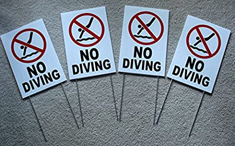 4-Pc Extraordinary Unique No Diving Symbol Yard Sign Board Decal Plastic Message Swiming Declare Outdoor Peeing Keep Water Allowed Pools Rules Decor Pool Poster At Your Own Risk Size 8