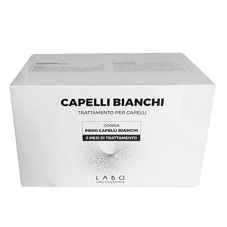 LABO CAPELLI BIANCHI Donna Primi Capelli Bianchi Trattamento 3 Mesi  Favorisce la Melanina 60 Fiale 5b43cb53572e