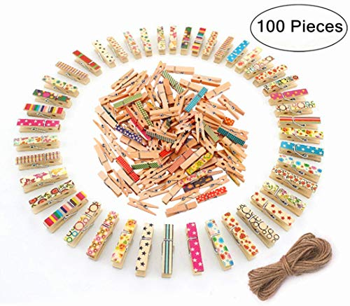 (Mini Wooden Clips, Magnolian 100Pcs Colored Natural Mini Wooden Photo Paper Peg Pin Craft Clips Bundle with 66 Feet Jute Twine)