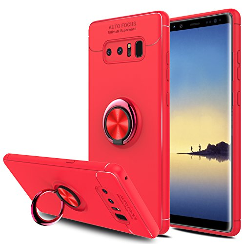 Galaxy Note 8 Case, Elegant Choise Hybrid Slim Durable Soft 360 Degree Rotating Ring Kickstand Protective Case with Magnetic Case Cover for Samsung Galaxy Note 8 / SM-N950F / SM-N950U (Red)