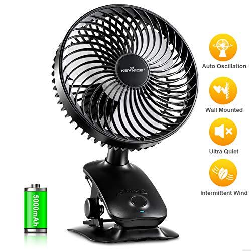 KEYNICE Clip on Fan Baby Stroller Fan, Desk Fan with 5000mAh Rechargeable Battery, Super Quiet USB Fan Auto Oscillating Mini Cooling Fan for Office Home Outdoor Sports Activities - Black