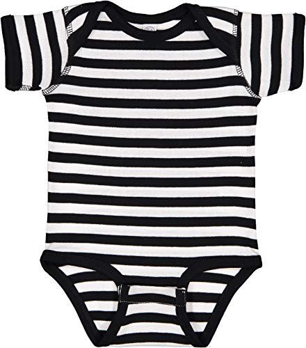 Rabbit Skins Infants'5 oz. Baby Rib Lap Shoulder Bodysuit, Black White Stripe, 6 Months