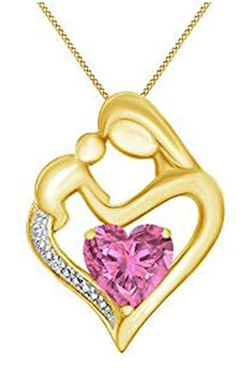 11//10 Cttw Jewel Zone US Simulated Garnet /& White Natural Diamond Accent Mother /& Child Heart Pendant in 14k Gold Over Sterling Silver