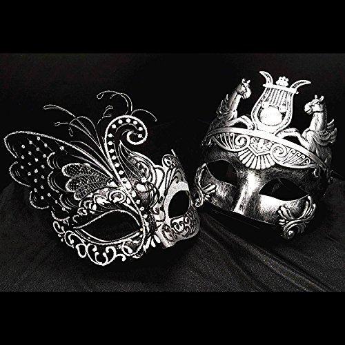 Silver / Black Flying Butterfly Women Mask & Silver Roman Warrior Men Mask Venetian Couple Masks For Masquerade / Party / Ball Prom / Mardi Gras / Wedding / Wall Decoration - Roman Theatre Costumes And Masks