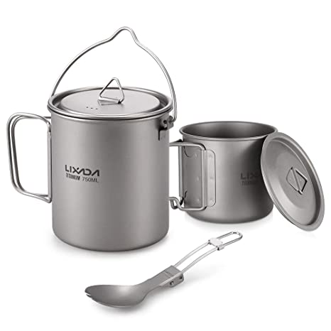 UK Portable Camping Kettle Outdoor Stainless Steel Cooking Utensil Hanging Pots