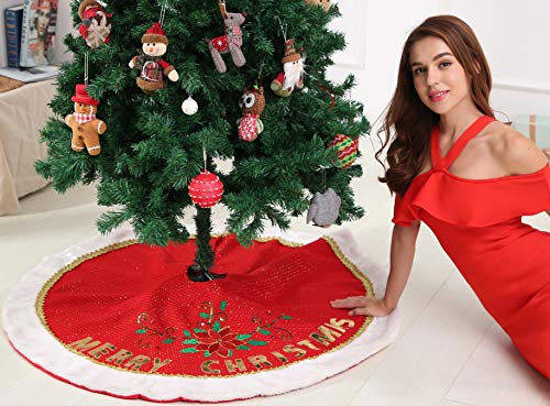 Christmas Fabric Merry (sdsaena Christmas Tree Skirt Merry Christmas Beaded Poinsettia Traditional and Countryside Multicolor and Knitted Fabric 48