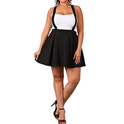 Toamen Jupe courte Femmes Grande taille Mini-jupe courte robe sangle Couleur pure Loose Strap (XXXXL, Noir)