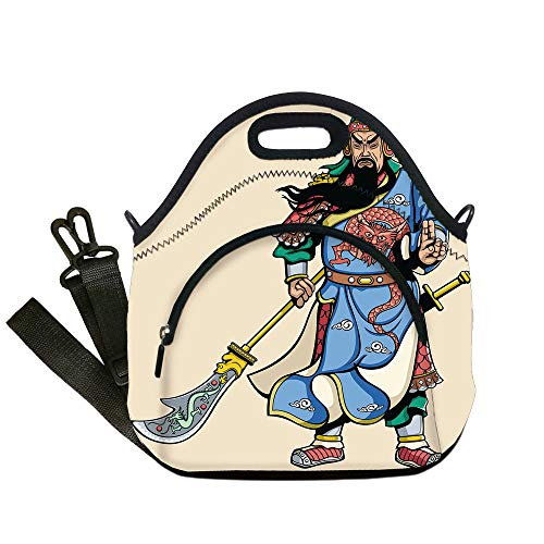 Insulated Lunch Bag,Neoprene Lunch Tote Bags,Ancient China Decorations,Legendary Chinese General Figure and Letters Brave Soldier Sword Decorative,Multicolor,for Adults and children]()