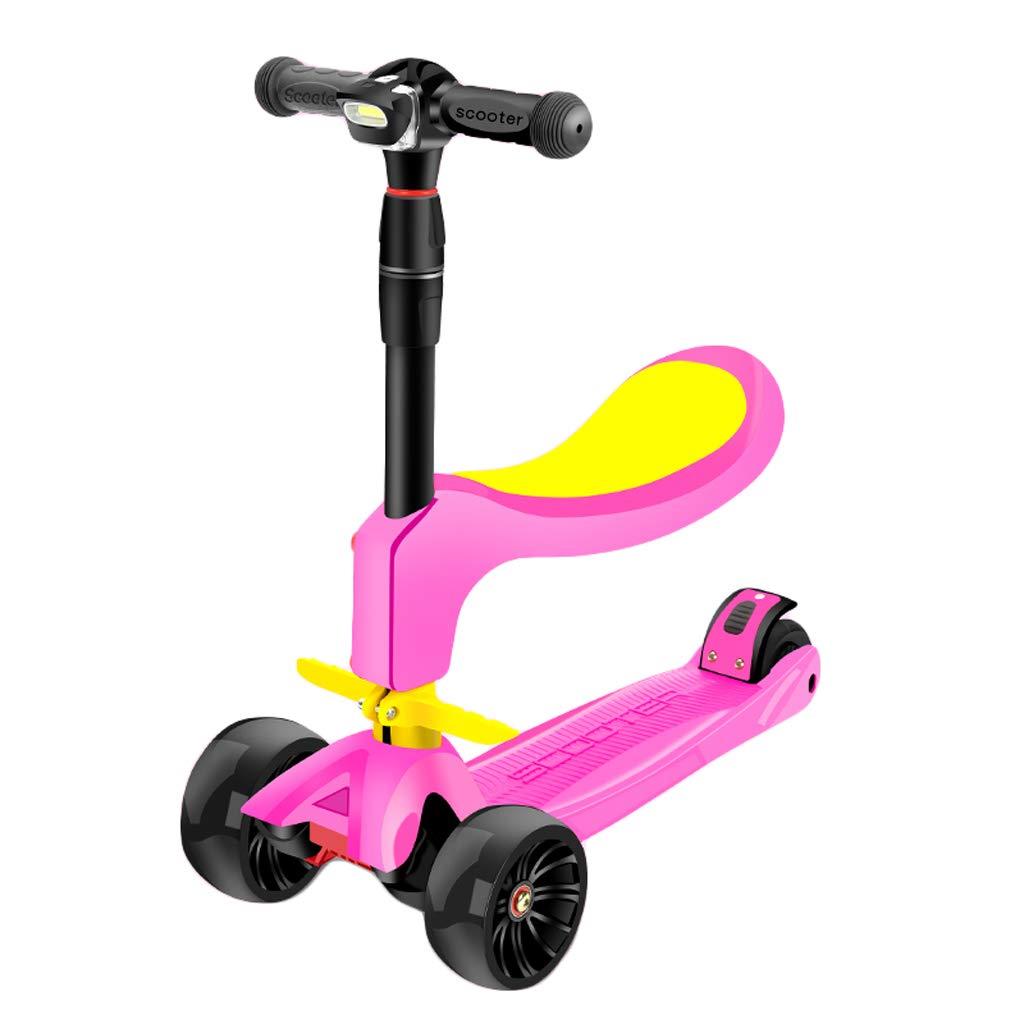 rose  Trougetinette électrique ZHAOSHUNLI Scooter pour Enfants Peut S'asseoir 4 Tours De 2-3-6 Ans Enfants Débutants (Couleur   rouge)