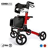 OasisSpace Ultra Folding Rollator Walker with Wide Seat 8'' Antiskid Wheels Compact Design